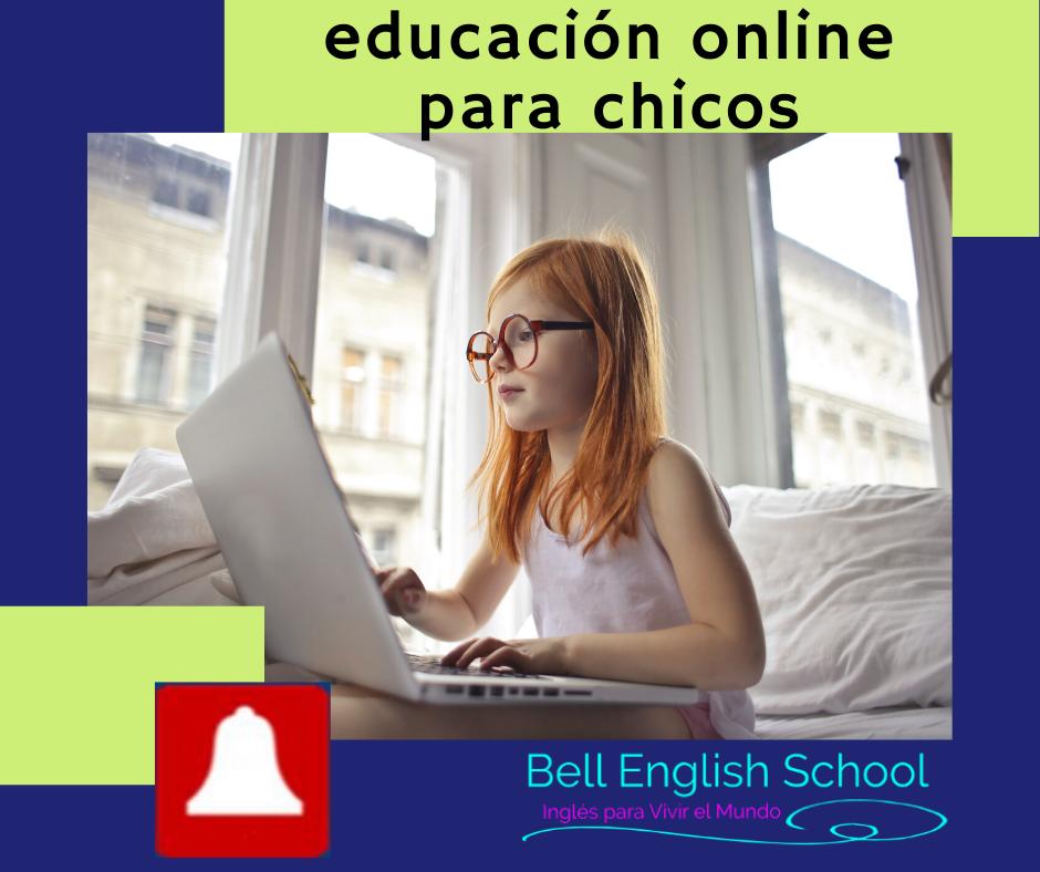 Beneficios de la educación online para chicos. estudiante frente a computador